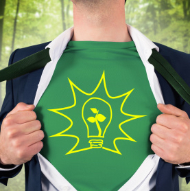 man opening shirt like superhero to show green energy symbol