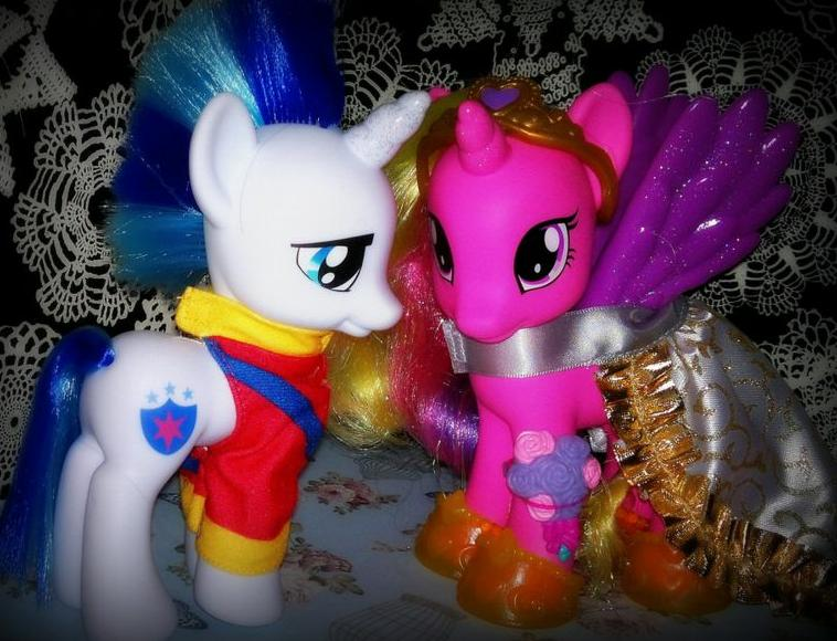Will toy buyers associate these Hasbro My Little Pony characters Shining Armour and Princess Cadence with Hasbro's purchase of renewable energy and be more likely to buy them as a result? (Photo by Lass With Toys and Camera)