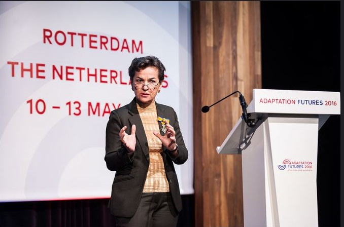 Christiana Figueres of Costa Rica, outgoing executive secretary of the UN Framework Convention on Climate Change, addresses the Adaptation Futures conference in Rotterdam, The Netherlands, May 10, 2016 (Photo by Maartje_Strijbis) Posted for media use.