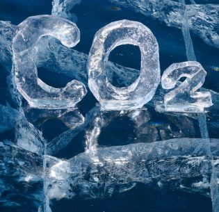 22151344 - chemical formula of greenhouse gas carbon dioxide co2 made from ice on winter frozen lake baikal