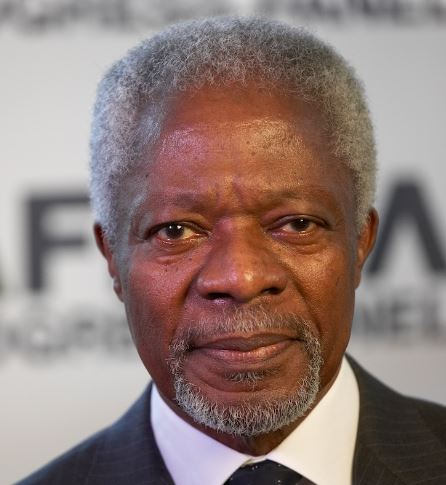 Kofi Annan, secretary-general of the United Nations from 1997 to 2006, was awarded the Nobel Peace Prize in 2001. Born in Ghana, was the first UN Secretary-General from Sub-Saharan Africa. Annan now heads the Africa Progress Panel, and serves as chair of the Kofi Annan Foundation and chair of The Elders. (Photo courtesy Africa Progress Panel) Posted for media use