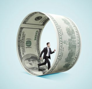 42879484 - businessman running in money wheel  on blue background