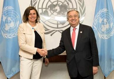Secretary-General António Guterres (right) meets with Isabella Lövin, Minister for International Development Cooperation and Climate and Deputy Prime Minister of Sweden. (Photo by Mark Garten courtesy United Nations) Posted for media use