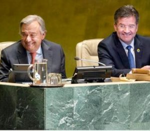 Miroslav Lajčák (right), president of the seventy-second session of the General Assembly, with Secretary-General António Guterres during the opening meeting of the session. September 12, 2017 United Nations, New York (UN photo by Kim Haughton) Posted for media use