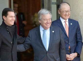 At the One Planet Summit, from left, President of Mexico Enrique Peña Nieto, United Nations Secretary-General António Guterres, World Bank President Jim Yong Kim. December 12, 2017 (Photo courtesy Office of President Peña Nieto) Posted for media use