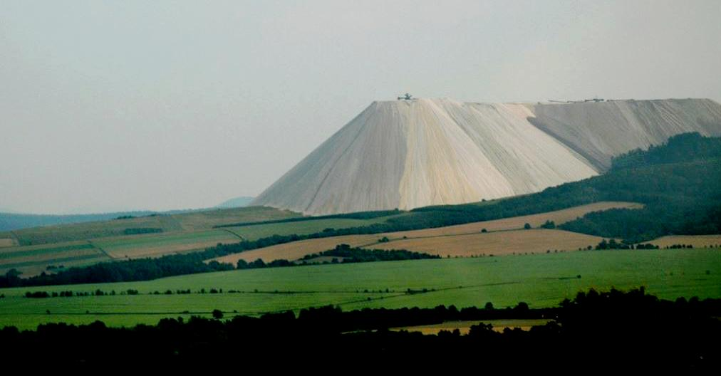 This massive salt pile is visible from the A4 Autobahn near Heringen, Germany is left over from potash mining in the region. (Photo by Gord McKenna) Creative Commons license via Flickr