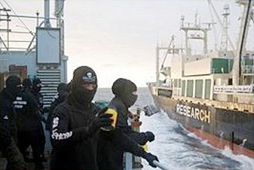 Sea Shepherd crew, left, confronts Japanese whalers in the Southern Ocean during the group's Operation Leviathan 2006-2007. (Photo courtesy Sea Shepherd Conservation Society) Posted for media use