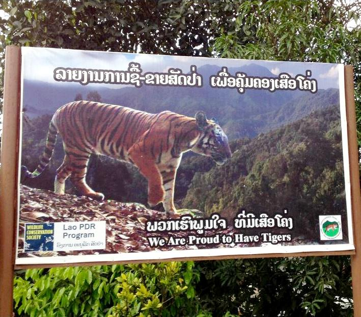 A sign publicizing the conservation effort in the Nam-Et-Phou Louey National Protected Area. July 2014 (Photo by David McKelvey / Wildlife Conservation Society)