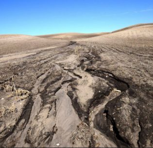 Excessive erosion on the U.S. Prairie. An inch of soil can take hundreds of years to form, but it can be swept away in a few seasons. Sediment loads in rivers silt up fish spawning beds, degrade drinking water quality, and cause silting of productive estuaries and reservoirs. March 27, 2017 (Photo by Rick Bohn / U.S. Fish & Wwildlife Service) Public domain
