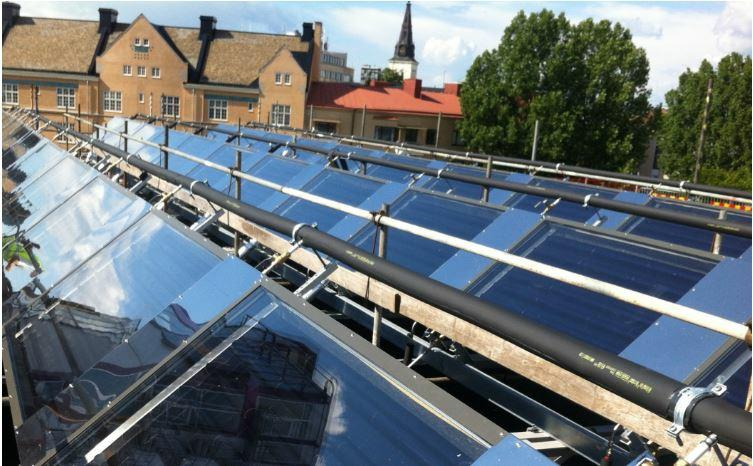 Löfbergs coffee roasting house in Karlstad, Sweden is home to the world's first large-scale testing facility with SaltX salt-technology solar panels for heating and cooling on the roof of the roasting house. (Photo courtesy SaltX) Posted for media use