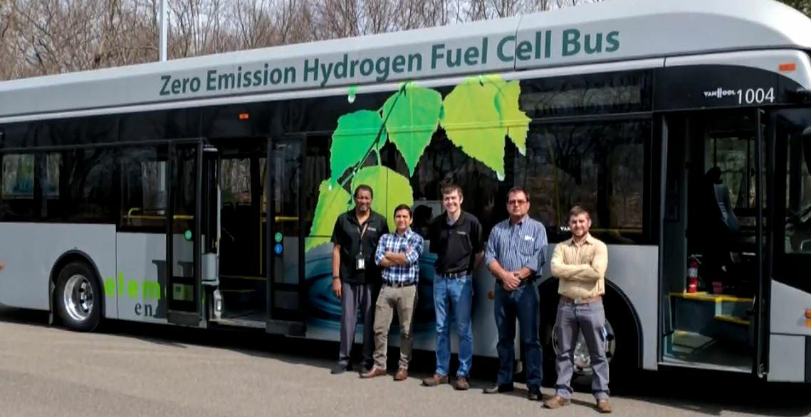 The partnership's fuel cell bus emits only water vapor. April 12, 2018 (Screengrab from video courtesy U.S. Hybrid) Posted for media use