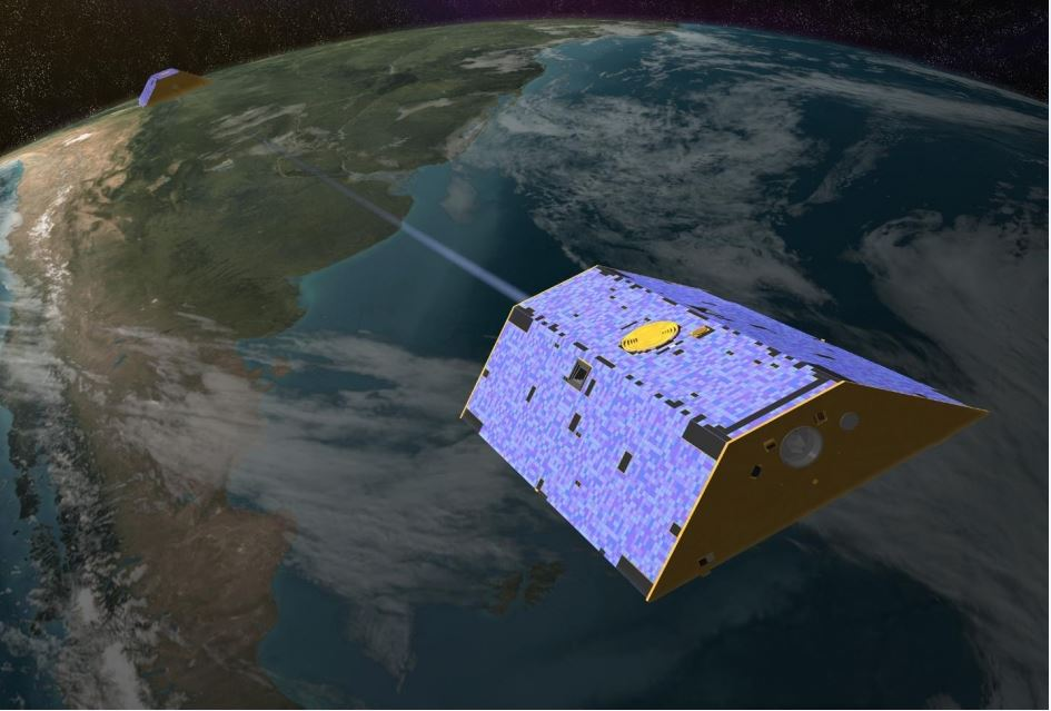Twin satellites launched in March 2002, made detailed measurements of Earth's gravity field which are leading to discoveries about gravity and Earth's freshwater systems that could have far-reaching benefits to society and the world's population. Artist's concept of Gravity Recovery and Climate Experiment (GRACE) (Image credit: NASA/JPL-Caltech) Public domain