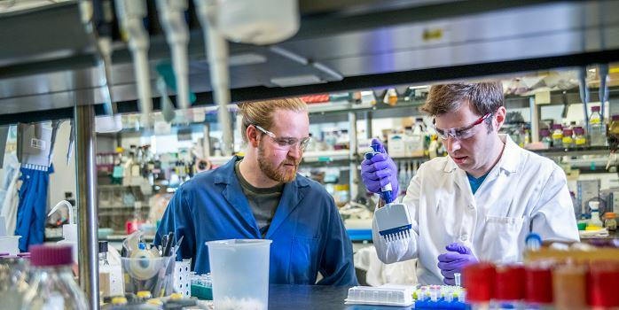 Scientists Sebastian Palluk and Daniel Arlow in their synthetic biology lab at the U.S. Department of Energy's Joint BioEnergy Institute, June 18, 2018 (Photo courtesy U.S. Department of Energy) Public domain