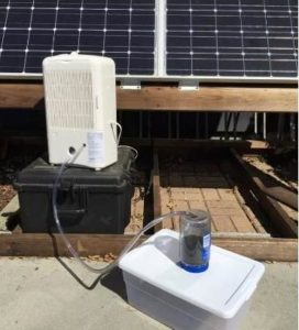 "This Majik Water proof of concept prototype ""hacks"" existing technology to generate 10 liters of water per day from the air using solar technology. (Photo courtesy Majik Water) Posted for media use"