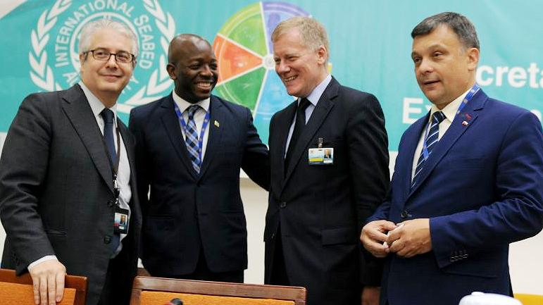 At the 24th ISA meeting, from left: Alfonso Ascencio-Herrera, ISA Legal Counsel and Deputy to the Secretary-General; Pearnel Charles, Minister of State, Ministry of Foreign Affairs, Jamaica; Michael Lodge, ISA Secretary-General; and Mariusz Orion Jędrysek, ISA Assembly President, Kingston, Jamaica, July 24, 2018 (Photo courtesy Earth Negotiations Bulletin) Used with permission.