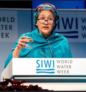 Amina Mohammed, deputy secretary-general of the United Nations and a former environment minister of Nigeria, speaks to an audience of water experts on August 27, 2018, the opening day of World Water Week 2018, Stockholm, Sweden. (Photo by Thomas Henriksson / SIWI) Creative Commons license via Flickr