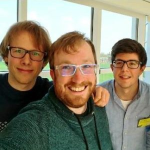 Dr. Bodo Wilts from the Adolphe Merkle Institute at the University of Fribourg with two other participants in the Living Light conference at Cambridge University, UK, April 2018 (Photo courtesy Moller Centre, Cambridge University via Twitter feed of Dr. Wilts)