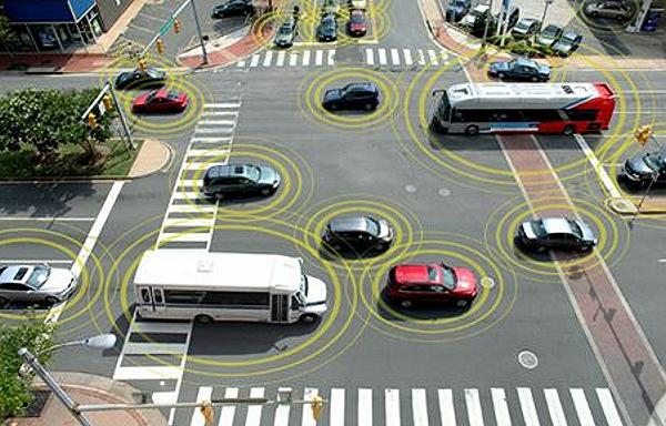 Connected vehicles communicate with each other and everything around them such as traffic lights, road signs and wearables. (Photo courtesy U.S. Department of Transportation) Public domain.