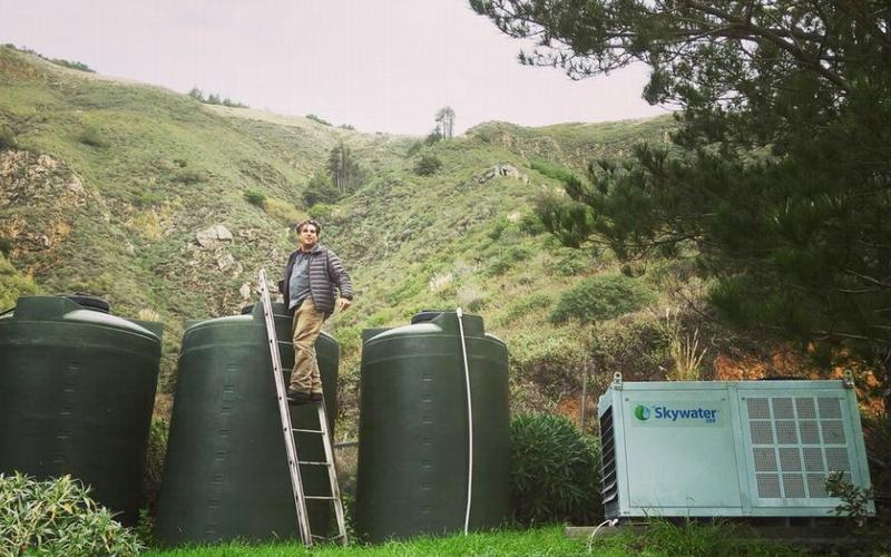 David Hertz harvesting water in Big Sur, California. Skywater 150 produces up to 150 gallons a day. The water can be stored in collection tanks for future use. 2018 (Photo courtesy Skysource/Skywater Alliance)