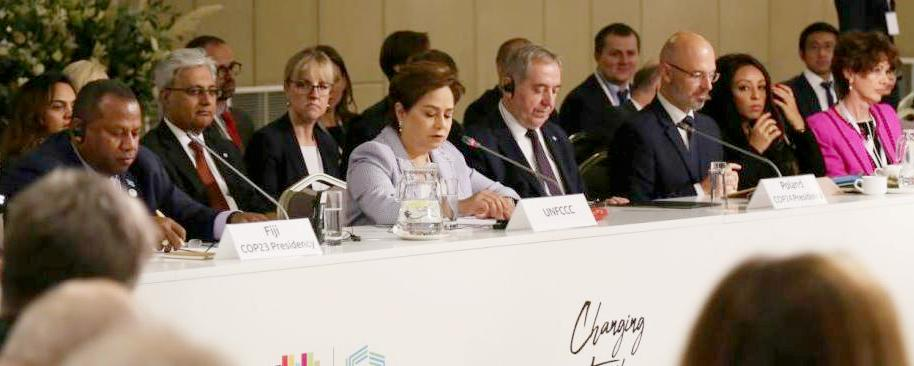 UN Climate's top climate negotiators at the COP24 ministerial meeting in Krakow on October 23, 2018, Patricia Espinosa center in lavender. (Photo courtesy COP24) Posted for media use.