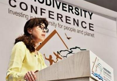 Executive Secretary of the Conference on Biological Diversity addresses the High-Level Segment of the conference taking place in Egypt this month. November 14, 2018, Sharm El Sheikh, Egypt (Photo courtesy Secretariat of the Convention on Biological Diversity)