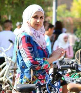A Syrian woman participates in a Yalla Let's Bike event in the city of Damascus. September 1, 2018 (Photo courtesy Yalla Let's Bike Initiative) Posted for media use