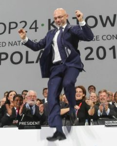 As the Katowice Climate Package is adopted, delegates cheer and Michal Kurtyka, COP 24 President, jumps for joy. December 16, 2018, Katowice, Poland (Photo courtesy Earth Negotiations Bulletin) Used with permission.