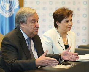 UN Secretary-General António Guterres and UNFCCC Executive Secretary Patricia Espinosa, Dec. 14, 2018, Katowice, Poland. (Photo courtesy Earth Negotiations Bulletin) Used with permission.