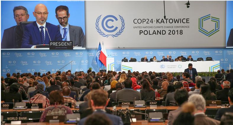 COP24 President Michal Kurtyka, State Secretary in Poland's Ministry of Energy, welcomes the delegates during the conference's opening plenary session, December 2, 2018, Katowice, Poland. (Photo courtesy Earth Negotiations Bulletin) Used with permission.