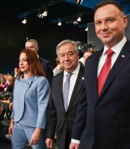 Entering the plenary hall, (from left) María Fernanda Espinosa Garcés, President, UN General Assembly; UN Secretary-General António Guterres; Poland's President Andrzej Duda, December 3, 2018, Katowice, Poland. (Photo courtesy Earth Negotiations Bulletin) Used with permission.