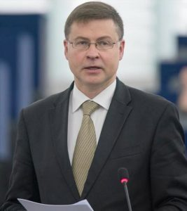EU Commission Vice President Valdis Dombrovskis, a former President of Latvia, is in charge of the Euro and Social Dialogue, and also in charge of Financial Stability, Financial Services and Capital Markets Union. July 4, 2018, (Photo © European Union 2018 - European Parliament) Creative Commons license via Flickr.