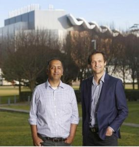 Professor Ashish Sharma and Dr. Conrad Wasko outside the University of New South Wales' School of Civil and Environmental Engineering, 2018, (Photo by Quentin Jones/UNSW) Creative Commons licence via UNSW.