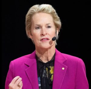 Dr. Frances Arnold speaks during the Nobel press conference in Stockholm, Sweden, December 2018 (Photo by Bengt Nyman) Creative Commons license via Wikipedia.
