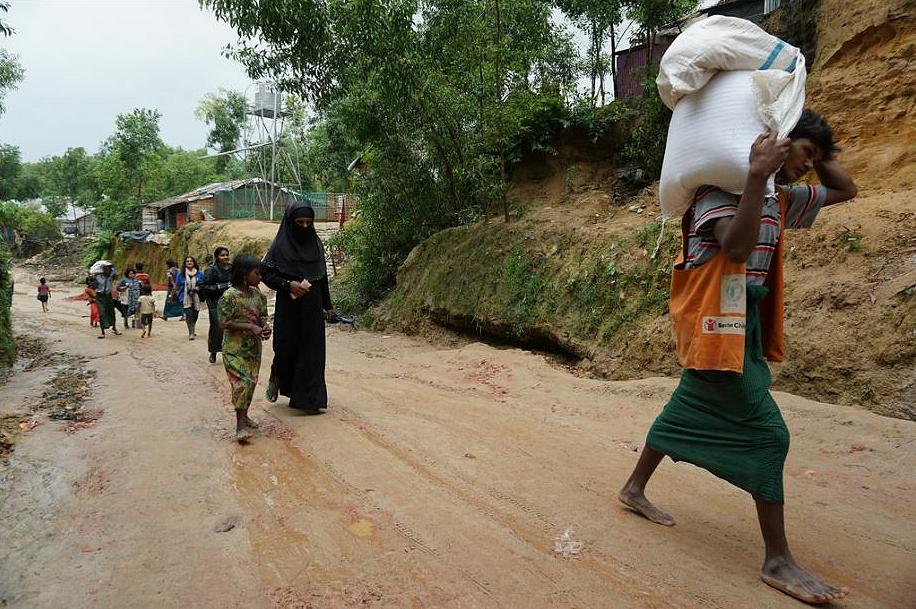 The UN World Food Program ensures Rohingya refugees in Bangladesh, some 800,000 people, get food every month, with funding from USAID. July 16, 2018 (Photo courtesy USAID) Public domain.