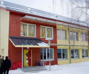 Kindergarden equipped with solar panels on the roof, March 5, 2010, Valga Estonia (Photo by Tõnu Mauring)