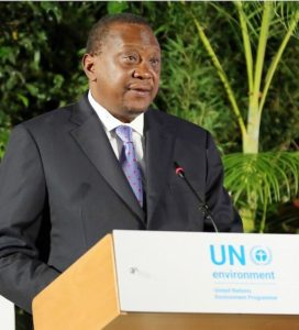 Kenya's President Uhuru Kenyatta welcomes delegates to the Fourth UN Environment Assembly, March 2019, Nairobi, Kenya (Photo courtesy Earth Negotiations Bulletin) Used with permission.