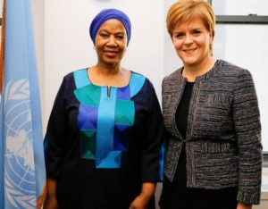 Phumzile Mlambo-Ngcuka of South Africa, Executive Director of UN Women with First Minister of Scotland Nicola Sturgeon, February 6, 2019 (Photo courtesy Scottish Government) Creative Commons license via Flickr