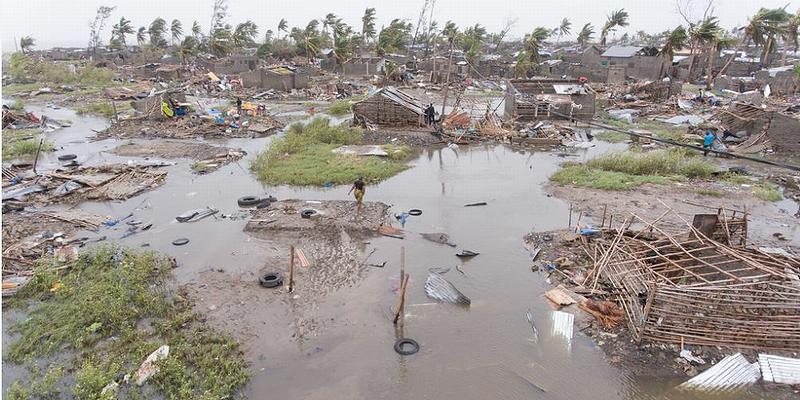 Damage wrought by Cyclone Idai in the African nation of Mozambique, March 15, 2019 (Photo by Denis Onyodi / IFRC/DRK/Climate Centre) Creative Commons license via Flickr