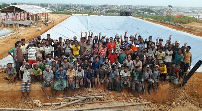 Oxfam International engineers worked together with Rohingya refugees to build this facility that can process the waste of 150,000 people. It's the largest plant of its kind in a refugee camp. 2019 (Photo courtesy Oxfam International) Posted for media use via Twitter.