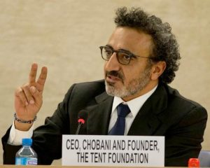Tent Partnership for Refugees founder Hamdi Ulukaya, a U.S.-based Kurdish businessman, entrepreneur, investor, and philanthropist, at the Conference on Syrian Refugees organized by the UN High Commissioner for Refugees, March 30, 2016 (Photo by United States Mission Geneva) Public domain.
