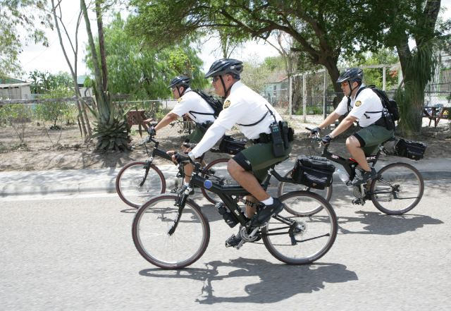 U.S. Border Patrol bicycle units patrol the city of Brownsville, Texas, looking for illegal immigrants, September 13, 2016, (Photo courtesy U.S. Customs and Border Protection) Public domain.