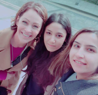 Caroline Kennedy; Sara, a Syrian refugee studying to be a hair stylist; and Abir, a student in Maximpact's Online Language class; Portadown, Northern Ireland, April 17, 2019 (Photo courtesy Caroline Kennedy via email)