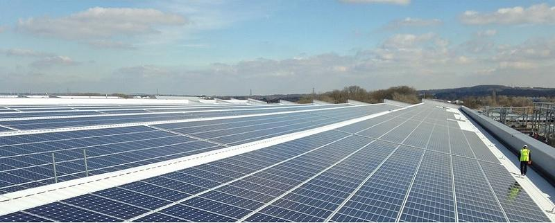 More than 21,000 solar photovoltaic panels, with a capacity of 5.8MW, were installed on the roof of the Jaguar Land Rover Engine Manufacturing Centre in Wolverhampton, UK in 2014. It was then the largest solar PV facility in the UK, a position now held by the Shotwick solar farm in Flintshire, northeastern Wales. (Photo courtesy Jaguar Land Rover) Posted for media use.