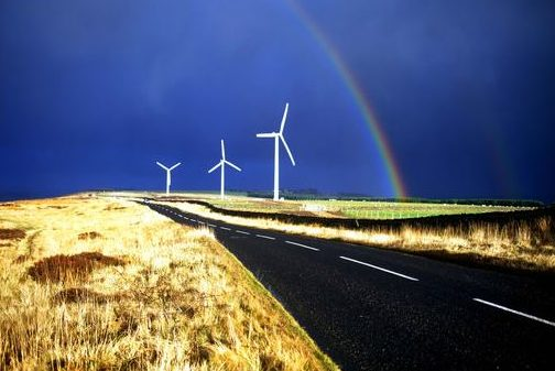 Located at East Hedleyhope in Bishop Auckland, a market town in northeast England, the High Hedley Wind Farm consists of three wind turbines with a generating capacity of 2.4 megawatts capable of powering up to 1,400 homes. (Photo courtesy EDF) Posted for media use.