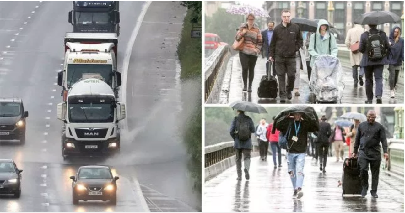 Morning commuters braved the rain on London's Westminster Bridge, June 10, 2019 (Photo courtesy The Met Office) Posted for media use.