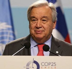 UN Secretary-General Antonio Guterres addresses thousands of delegates from around the world, opening the UN's annual climate conference, COP25, Dec. 2, Madrid, Spain (Photo courtesy Earth Negotiations Bulletin)