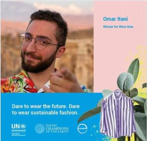 UNEP celebrates Young Champion of the Earth Omar Itani of Beirut, Lebanon, who founded Thredup, a network of online clothing thrift stores. September 19, 2019 (Photo courtesy UNEP) Posted for media use