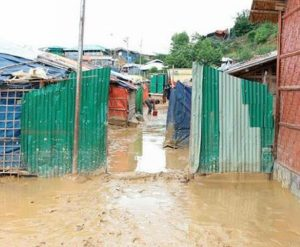 Rohinga refugee camps in Cox's Bazar, Bangladesh turned to mud after July rains, with some areas completely flooded. July 2019 (Photo by Gemma Snowdon courtesy World Food Programme) Posted for media use