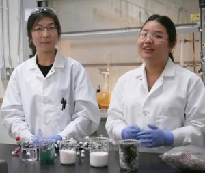 Jenny Yao (left) and Miranda Wang in the lab where they explore recycling previously unrecyclable plastics. 2018 (Screengrab from video posted by UNEP) Posted for media use