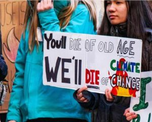 A sign carried at the Illinois Youth Climate Strike expresses the fears of a generation. Chicago, Illinois, December 6, 2019 (Photo by Charles Edward Miller) Creative Commons license via Flickr